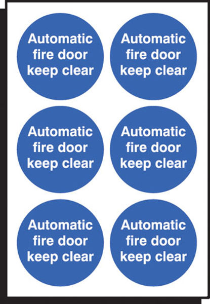 Picture of Auto fire door keep clear 65mm dia - sheet of 6