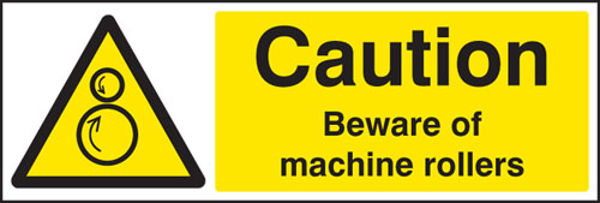Picture of Caution beware of machine rollers
