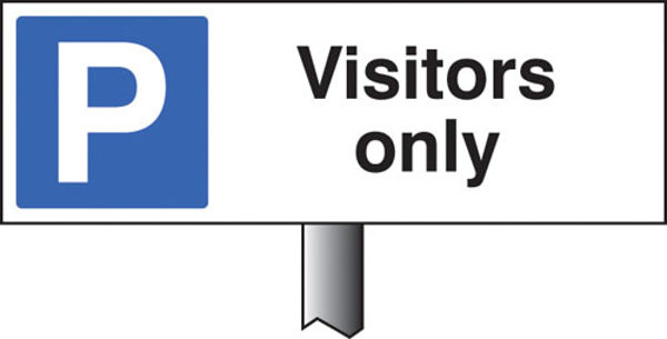 Picture of Parking visitors only verge sign 450x150mm (post 800mm)