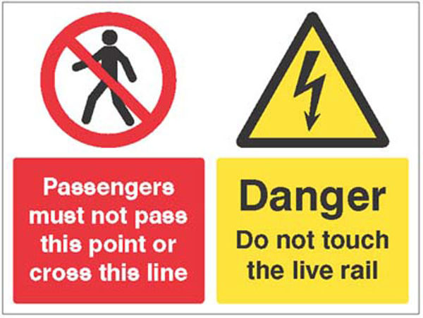 Picture of Passengers must not pass this point or cross this line, Danger do not touch
