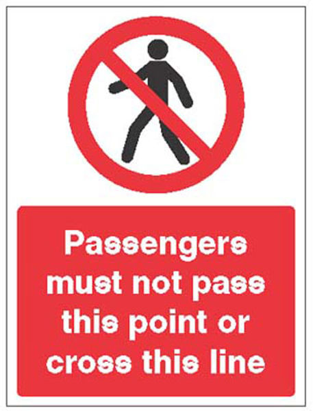 Picture of Passengers must not pass this point or cross this line
