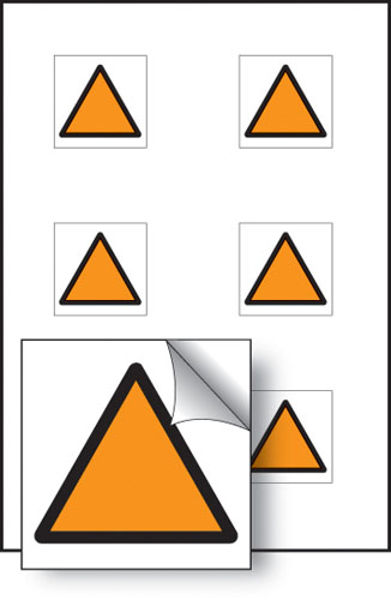 Picture of Orange triangle vibration safety 25x25mm - sheet of 6 self adhesive