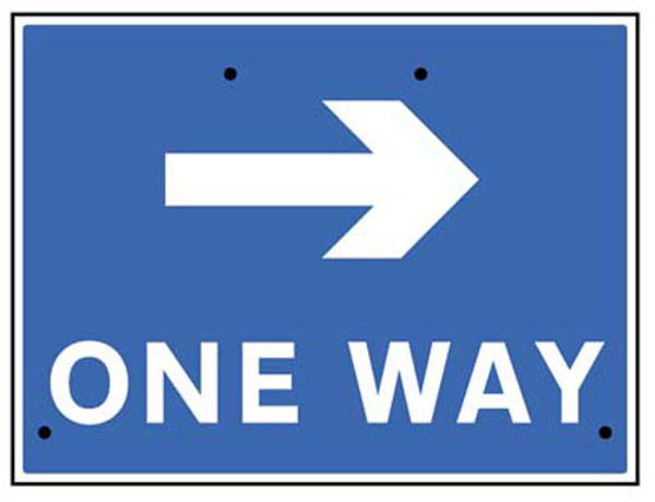 Picture of One way arrow right, 600x450mm Re-Flex Sign (3mm reflective polypropylene)