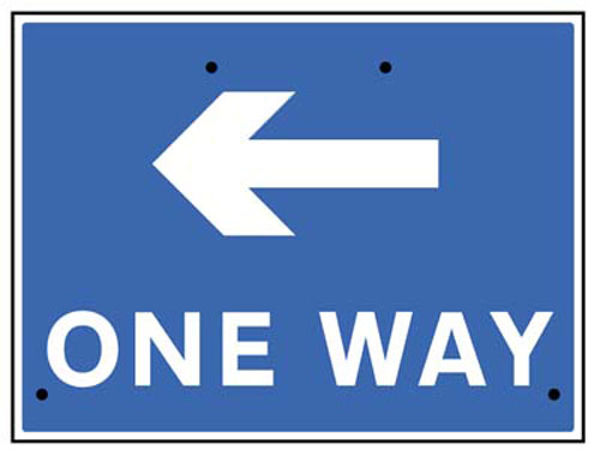 Picture of One way arrow left, 600x450mm Re-Flex Sign (3mm reflective polypropylene)