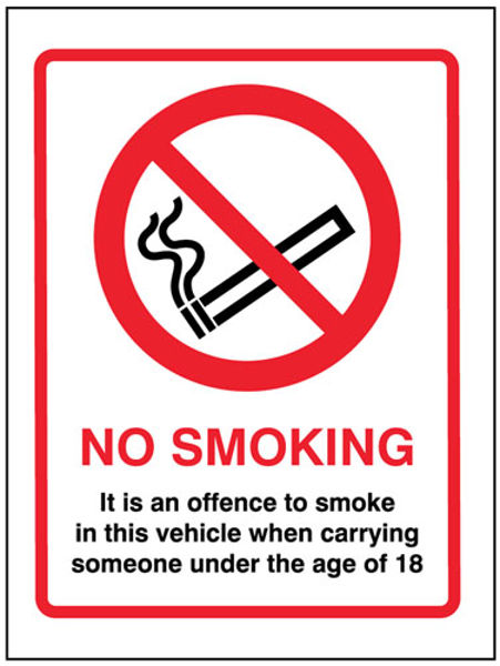 Picture of No smoking it is an offence to smoke in this vehicle when someone under the
