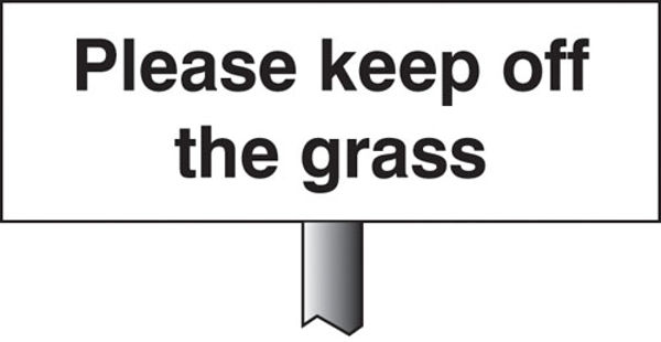 Picture of Please keep off the grass verge sign 450x150mm (post 800mm)