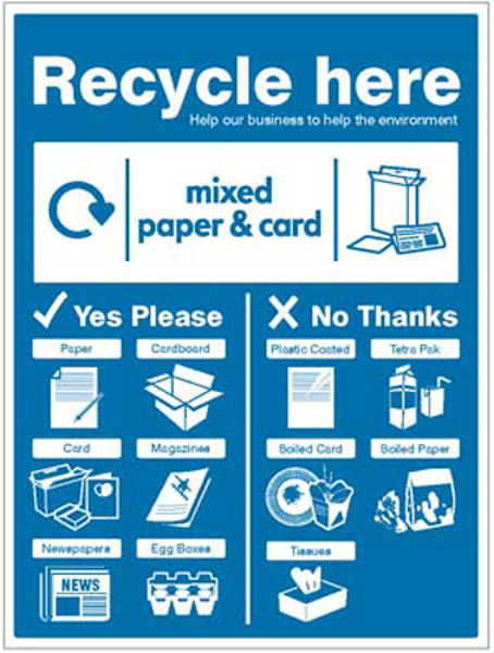 Picture of Paper & Cardboard - WRAP Recycle here sign