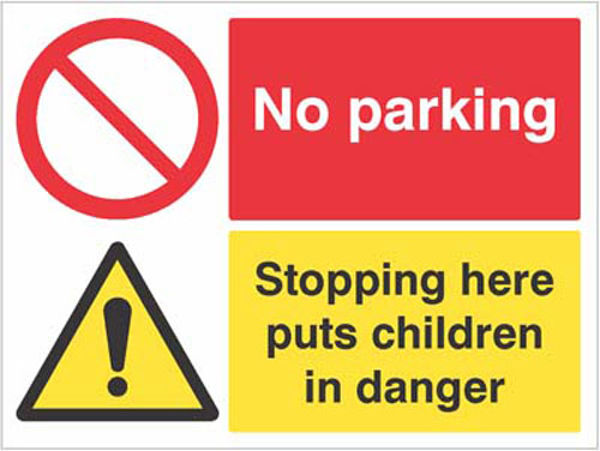 Picture of No parking Stopping here puts children in danger