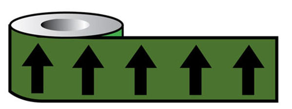 Picture of Pipeline ID Black Arrows on Green (12D45) 50mm x 33M