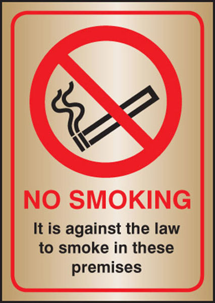 Picture of No smoking it is against the law A5 brass