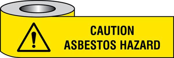 Picture of Caution asbestos hazard barrier tape 75mm x250m