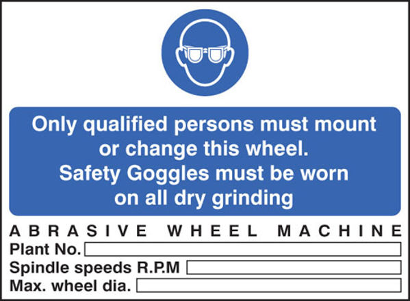 Picture of Abrasive wheel machine goggles must be worn