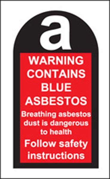 Picture of 100 S-A labels 27x50mm contains blue asbestos