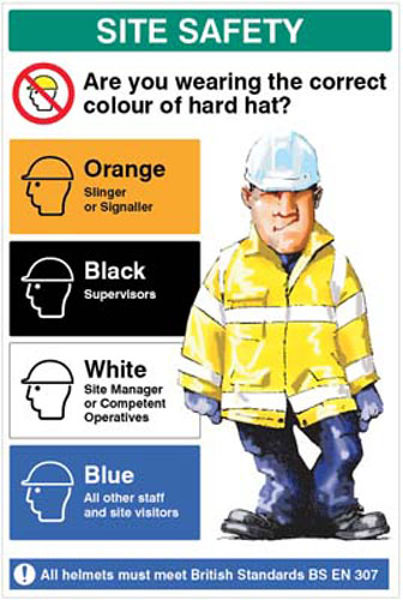 Picture of Are you wearing the correct colour hard hat 600x900mm 5mm pvc