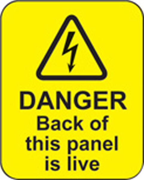 Picture of Danger back of this panel is live roll of 100 labels 40x50mm