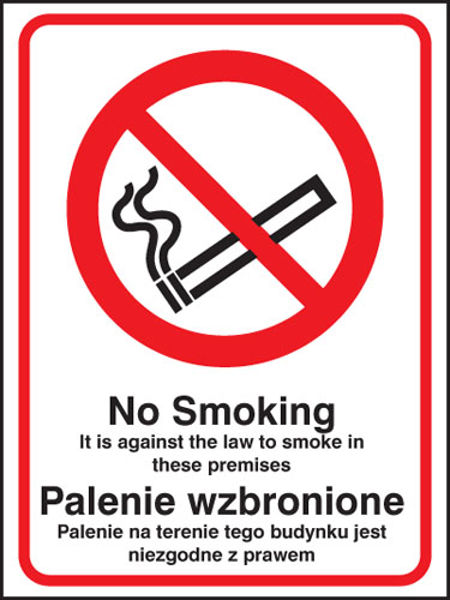 Picture of No smoking it is against the law to smoke in premises (English-polish)