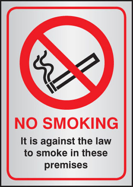 Picture of No smoking it is against the law A5 aluminium