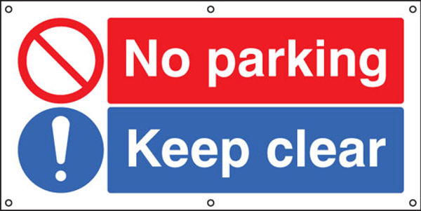 Picture of No parking Keep clear banner c-w eyelets