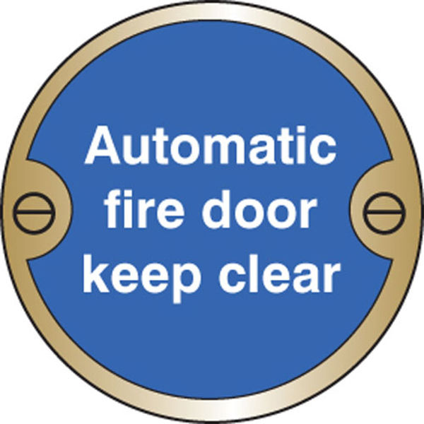Picture of Automatic fire door keep clear 76mm dia brass sign