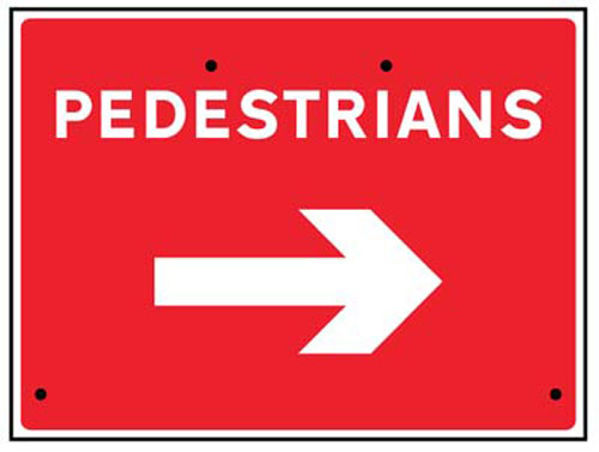 Picture of Pedestrians arrow right, 600x450mm Re-Flex Sign (3mm reflective polypropyle