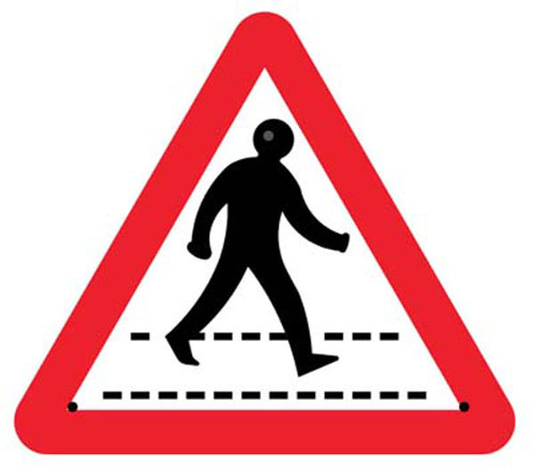 Picture of Pedestrian crossing 750mm triangle Re-Flex Sign (3mm reflective polypropyle