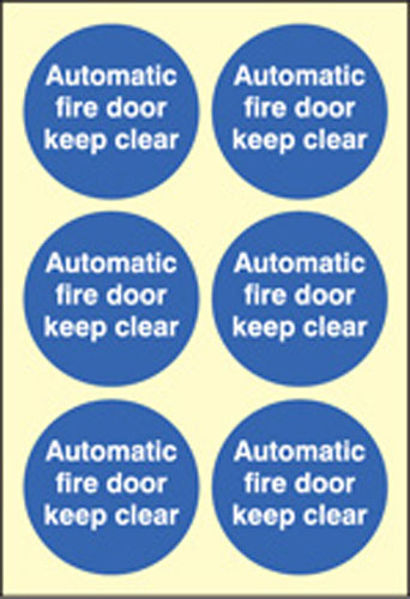 Picture of Automatic fire door keep clear  65mm dia - sheet of 6 photoluminescent