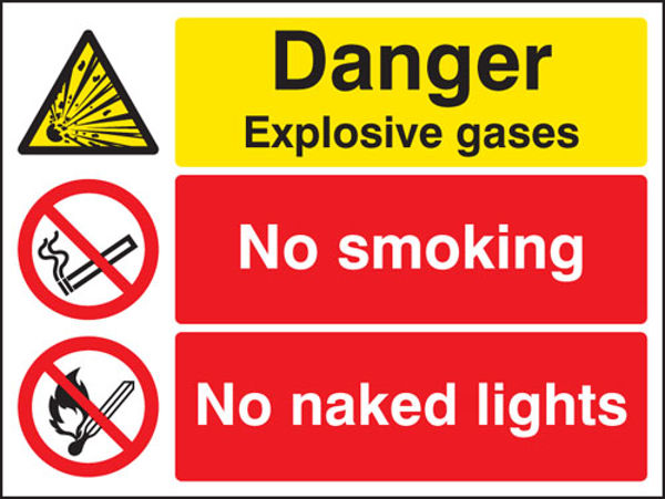 Picture of Danger explosive gases no smoking no naked lights