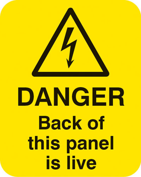 Picture of Danger back of this panel is live Sheet of 25 labels 40x50mm