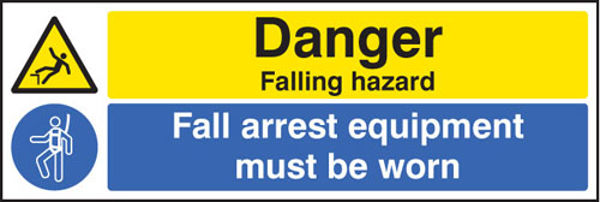 Picture of Danger falling hazard fall arrest equipment must be worn