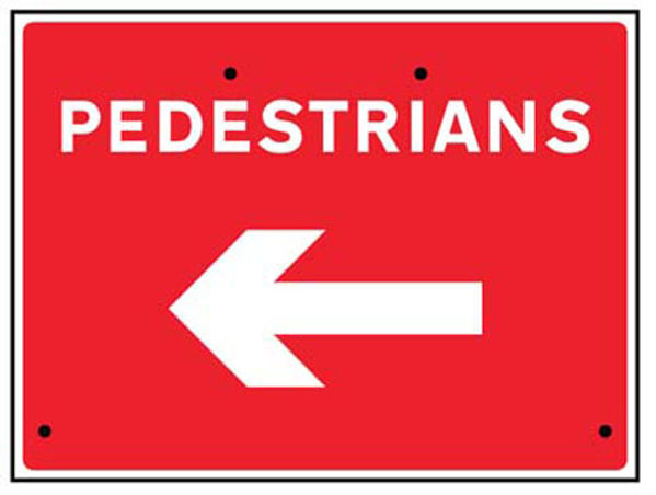 Picture of Pedestrians arrow left, 600x450mm Re-Flex Sign (3mm reflective polypropylen