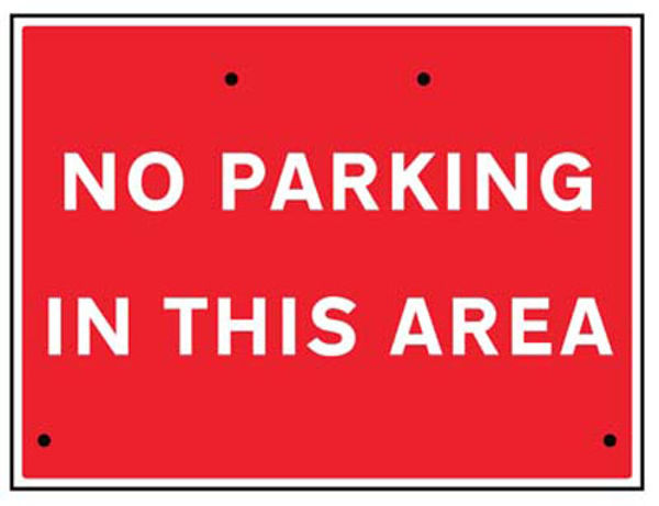 Picture of No parking in this area, 600x450mm Re-Flex Sign (3mm reflective polypropyle