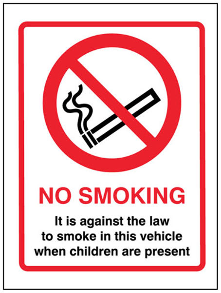 Picture of No smoking it is against the law to smoke in this vehicle when children are