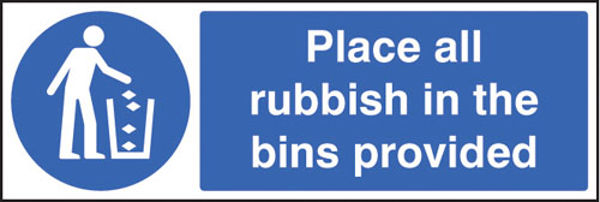 Picture of Place all rubbish in bins provided