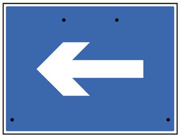 Picture of One way arrow only, 600x450mm Re-Flex Sign (3mm reflective polypropylene)