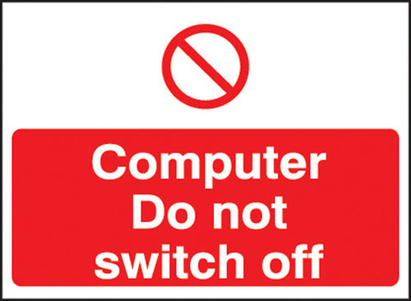 Picture of Computer do not switch off 35x25mm self adhesive