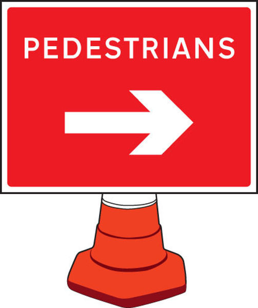 Picture of Pedestrians arrow right cone sign 600x450mm