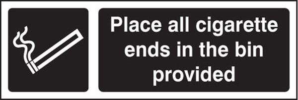 Picture of Place all cigarette ends in bins provided (white-black)