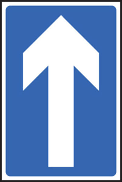Picture of One way traffic Class R2 Permanent 300x450mm (3mm aluminium composite)