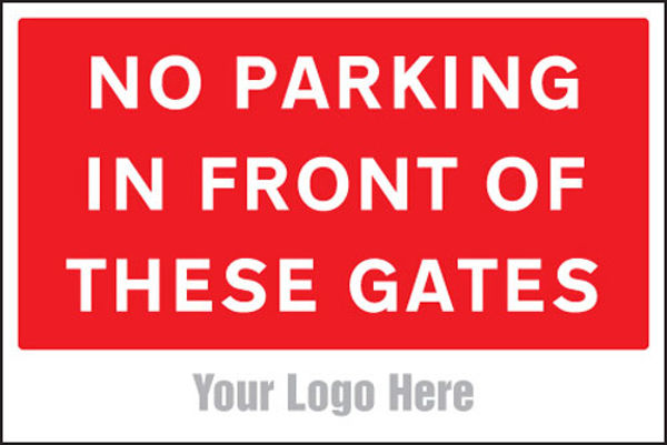 Picture of No parking in front of these gates, site saver sign 600x400mm