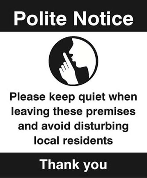 Picture of Polite notice Please keep quiet when leaving…