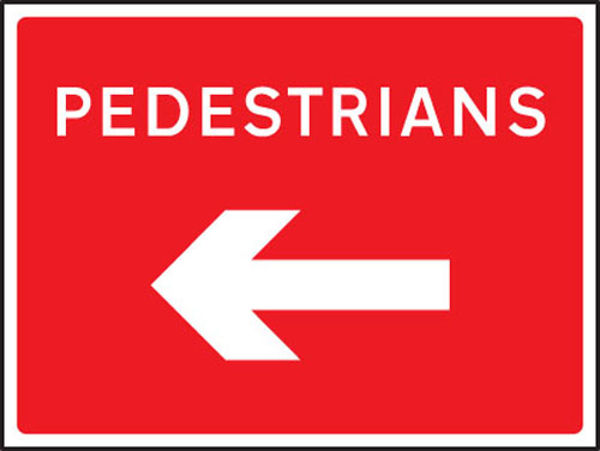 Picture of Pedestrians arrow left-right fold up 600x450mm sign
