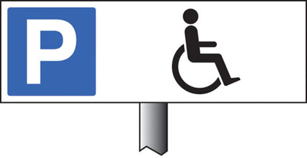 Picture of Parking disabled symbol verge sign 450x150mm (post 800mm)