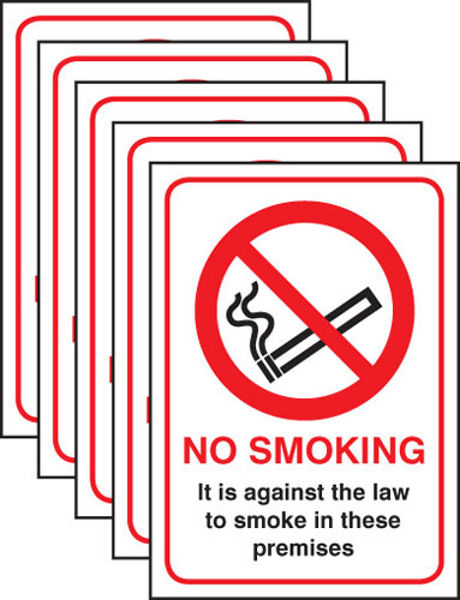 Picture of No smoking English Law (pack of 5) SAV A5