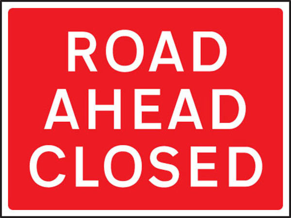 Picture of Road ahead closed 1050x750mm Class RA1 zintec