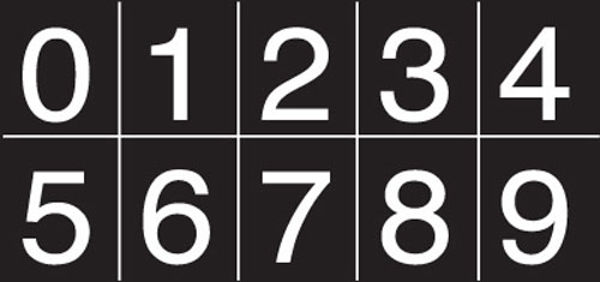 Picture of Numbering sheet white on black 25mm cap height
