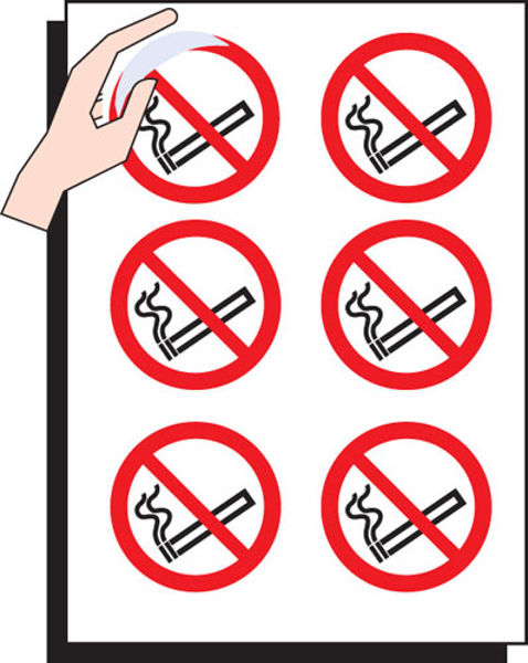 Picture of No smoking 75mm dia - sheet of 6