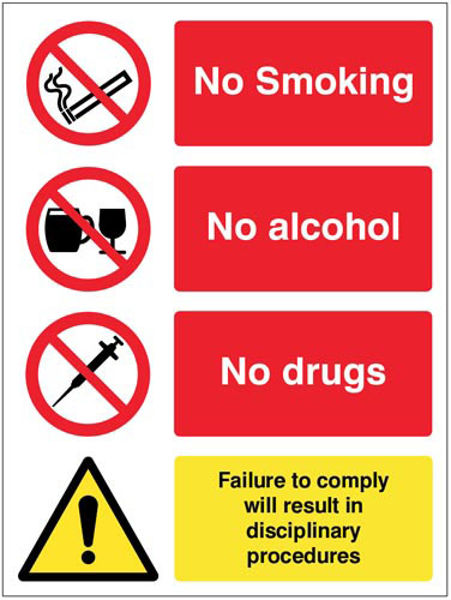 Picture of No smoking, alcohol, drugs.  Failure to comply will result in disciplinary