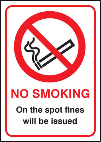 Picture of No smoking on the spot fines will be issued