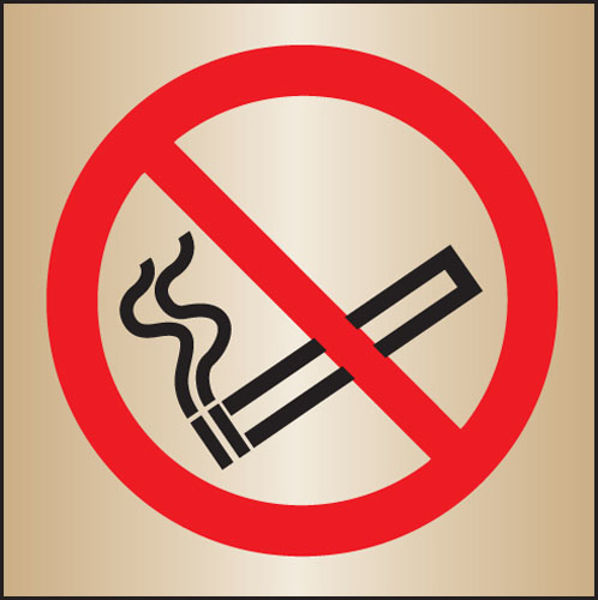 Picture of No smoking 140x140mm brass