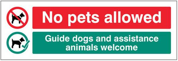 Picture of No pets allowed Guide dogs and assistance animals welcome